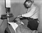 A guard at Vacaville State Prison prepares a prisoner for a lobotomy in 1961. The warden of Vacaville at that time was Dr. William Keating, a psychiatrist who was convinced that