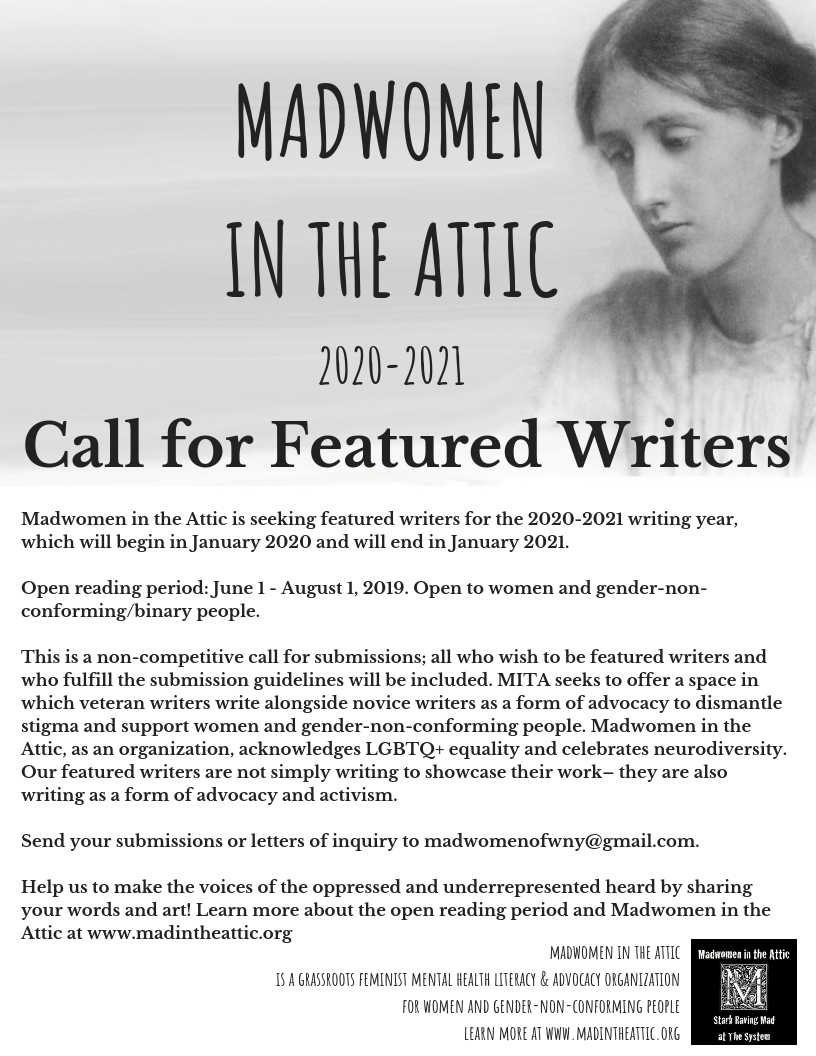 Call For 2020 2021 Featured Writers Madwomen In The Attic